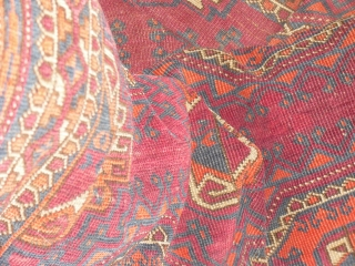 Antique Tekke/ Saryk rug 19 century, with restorations - needs a wash, fine wave, clossy wool, worn places, Size: 102 x 182 cm