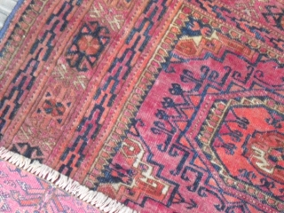 A rare Tekke chuval - very silky and velvety wool/ very fine  - one restored split - one moth bit - size: 122 x 68 cm