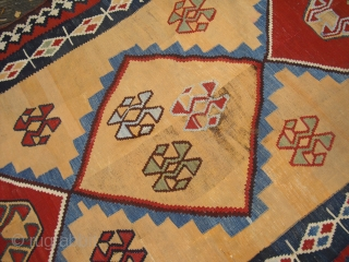 19th century Qashqai or Luri Kilim/ Size: 308 cm x 148 cm/ with some holes and wear/ needs a wash/ very nice natural colors/ Wool on Wool