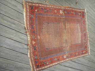 Antique Afshar - End of 19th century - worn but still very elegant - recently washed professionally - rare motif - looks a bit like a saddle - shipment worldwid possible