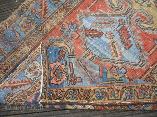 Heriz - Serapi Fragment/ small rare rug/ around 1900 - great natural colors - still elegant - professional washed/ Size: 105 x 150 cm