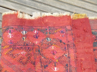 Torba - Brocade flatweave Yomud or Tekke, early piece maybe around 1850, very thin and floppy handle - fragment, lots of Silk (i.a. magenta + white)- Size 98 x 36 cm