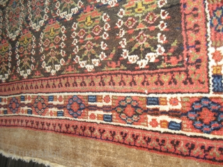 Fragmented and restored antique Sarab/ Hamadan/ Northwest Persian Camel hair carpet, with worn spots and two holes but still very nice and warm, clean condition. Size: 235 cm x 140 cm