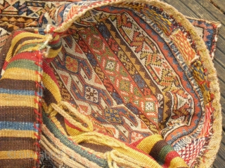 Gaschgai/ Gaschguli Khordjin/ South West Persia - complete - patinated colors - very soft wool with Syrga-Ornaments - probably from 1900
