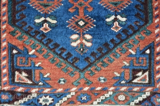 South-West Anatolian Carpet with a Megri like field design (possibly a Dosemealti?), 160 x 110 cm, exceptional colors, including a magic turquoise green. Oxidized brown with relief like effect. The shining of  ...