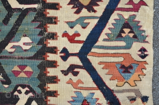Central Anatolian Kilim Fragment, great colors incl. a rare dark Aubergine, first h. 19th, 267 x 107 cm