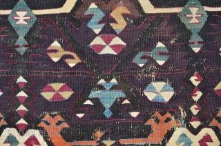 Central Anatolian Kilim Fragment, great colors incl. a rare dark Aubergine, first h. 19th, 267 x 107 cm
