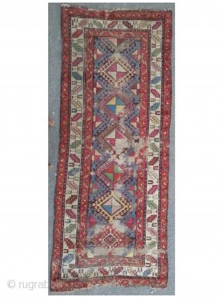 East caucasian long rug, 96 x 243 cm, heavy worn, beautyful design and colors.