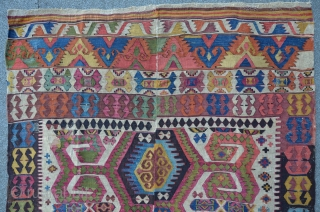Central Anatolian Kilim, 310 x 147 cm, 2 rows, complete with some old repairs