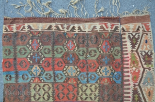 East Anatolian Malatya Kilim, 408 x 150 cm. The main field is woven in one piece 117 cm wide, the border is separate woven ..very unusual. One Border is missing ( or  ...