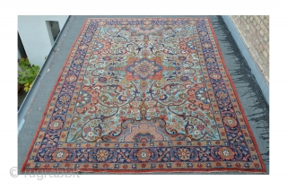Antique Tabriz with turquoise ground color, 367 x 285 cm, ca.1910