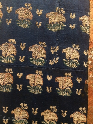 "Silk brocade panel, 57""x37"".  Pieced long ago from 18th century  Persian fabrics."