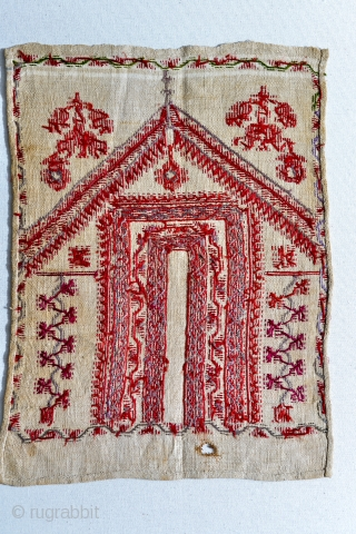 1800s Palestinian embroidery with Tyrian dye and traces of green silk.