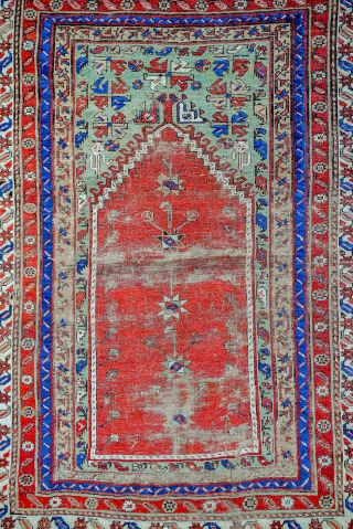18th C. Ottoman Mudjur Prayer rug. 59 x 43 inches.