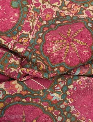 Antique 19th C. Uzbek Bukhara Suzani. Has silk loss as pictured.