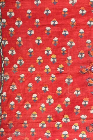 19th Century India linen and silk tapestry / shawl