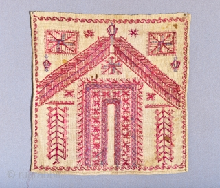 19th C. Palestinian embroidery. Silk on hemp. Tyrian Mediterranean sea snail purple dye. 14 x 14.5 inches.