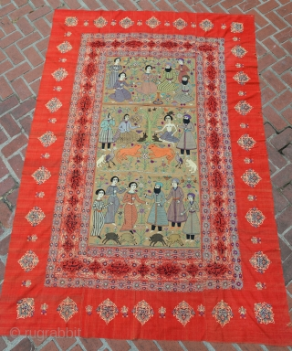 Inscribed Isfahan or Resht embroidery tapestry. Red Adras (not felt). 6ft x 8.5 ft (99 x 71 inches)