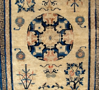 Early 1800s Chinese or Tibetan rug. 82 x 53 inches. This rug is gorgeous and has some wear. No repairs.