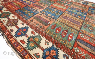 Early Village Bakhtiar or Bakhtiari All natural colors and good original condition. Needs selvages  4 x 6 ft