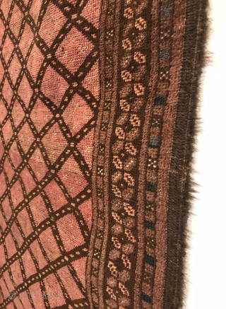 Antique Turkmen Rug. Rare piece with horsehair warps. The field features a bold contrasting lattice design with dice minor border. Excellent condition. Remnants of kilim ends. Original goat hair selvage. 6 colors.  ...