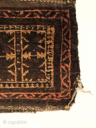 """Old Timuri Baluch Bag. Circa Antique. Bits of silk between center leaves. All original sides. Soft, lustrous wool. Goat hair selvage. 5 colors. 1'2"""" x 1'4"""". Delicately hand washed."""