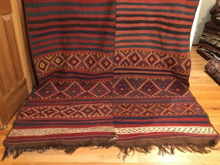 """Uzbek Tatari Kilim Flatweave. Last Quarter 19th Century. Mint condition considering age. All sides original with macrame ends. 6 colors. 12'9"""" x 5'0"""". Delicately hand washed."""