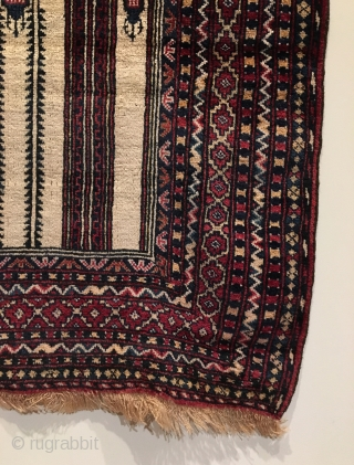 White Ground Baluch Prayer Rug. Full pile.  Soft, silky wool.  Goat hair selvage.  55 x 36.  6 saturated colors.  Clean and hand washed.
