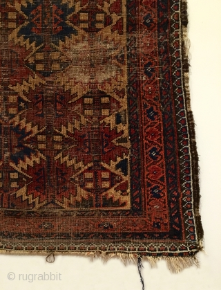 """Antique Baluch Rug, Northeastern Iran.  Mid 19th Century.  Ashik design on camel field.  Nice wall art.  Great condition for age.  7 colors.  4' 3"""" x 2'  ..."""