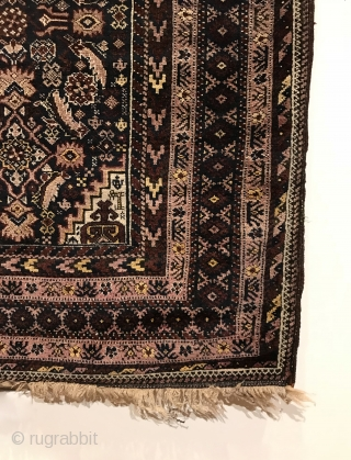 Antique Baluch Rug. Salar Khani. Torbat-E Haidari - Northeast Persia. Abrashed blue ground field displays a central row of diamonds bracketed by curvilinear serrated leaves. The Keshmiri design is usually found in  ...