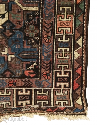 Antique Kuba Region Rug. Mid 19th Century. Rare piece. Twin pairs of birds form gol clusters on aubergine-brown field. 3'4 x 4'3. 6 colors. Original macramé ends. Cut and shut by 2  ...