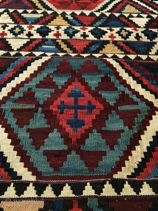 "Antique Shirvan Kilim. Last quarter 19th Century. Extremely fine weave. Leathery handle. 5'7"" x 9'6"". 10 colors. Carefully washed clean. Ready for the floor or as wall hanging kilim art."