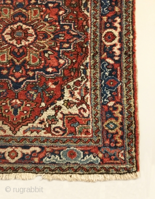 "Antique Small Heriz Rug.  Early 20th Century.  Very colorful with strong central medallion.  Mint condition with full pile.  Original four sides.  10 colors.  2'9"" x 2'7"".  ..."