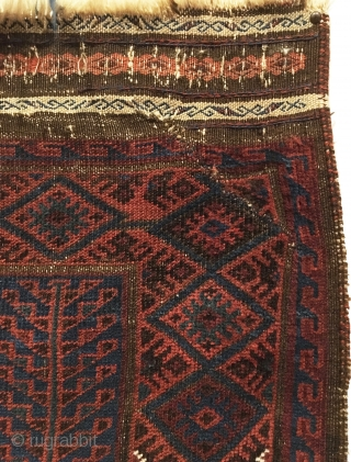 Antique Baluch Prayer Rug. Last quarter 19th Century. Blue ground. Original kilim ends and selvage. Repaired slits at top and bottom right corners. 3'3 x 4'9. 6 colors. Carefully hand washed.