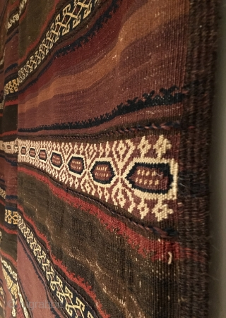 Qala-i-Nau Baluch Kilim.  Circa Antique.  Two piece kilim design.  4 cord wide selvage.  Excellent condition.  2 repairs as shown.  6 colors.  91 x 55.   ...