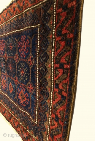 "Timuri Baluch Bagface. Last Quarter 19th Century. Excellent condition. Original four sides. 6 colors. 1'6"" x 2'3"". Delicately hand washed."