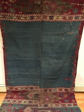 South-east Anatolian Aleppo Kilim.   Circa Early.  Rare turquoise blue field + old purple.  Rare enough to enter a Museum Collection as it is the second known example based  ...
