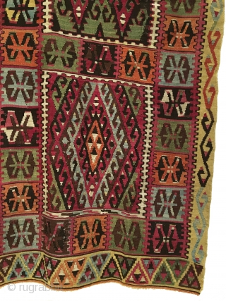 Antique Central Anatolian Kirsehir Kilim. Late 19th Century. Stunning wall art. Shiny and lustrous wool. 8 colors. 7'5 x 6'0. Carefully hand washed.