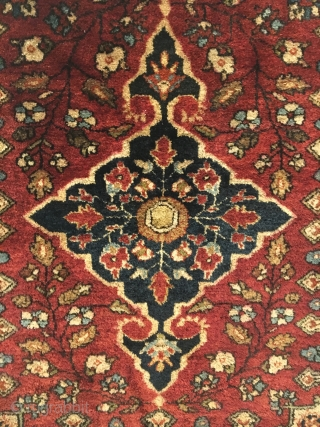 Antique Sarouk Pushti (Small Rug). Circa Antique. 5 colors. Excellent condition with full pile. 2'0 x 2'4. Carefully hand washed.