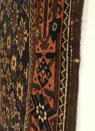 Baluch Rug.  Northeast Persia, Khorasan, Torbat-e-Haidari.  Last Quarter 19th Century.  Totemic Mina Khani flower border.  Dual striped lattice flower field.  Great condition.  5 colors.  71  ...