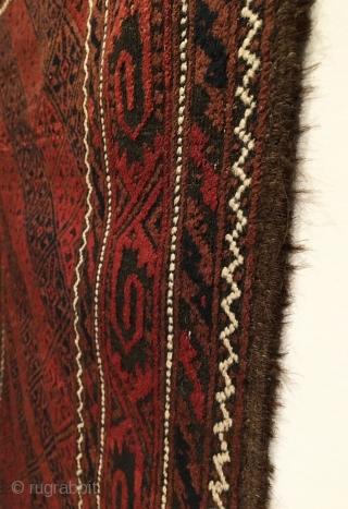 Baluch Rug.  Northeast Persia, Khorasan, Torbat-e-Haidari.  Late 19th Century. Diagonal Lattice design.  Full pile.  Very good condition.  5 colors.  66 x 38.  Clean and hand  ...