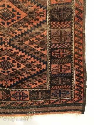 Chakhansur Baluch Rug.  Northwest Afghanistan.  Last Quarter 19th Century.  5 colors including purple.  78 x 41.  Clean and hand washed.