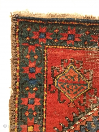 Early Caucasian Runner.  Karabagh district.  Possible Date/Inscription?  Serrated hexagonal medallions connect field.  Wool on cotton.  Strong green throughout.  No repairs.  Original condition.  Hanging wall  ...