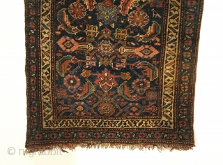 Small Bidjar Rug.  Late 19th Century.  Wool on wool.   No repairs.  Original ends.  Very good condition.  12 colors.  43 x 27in.  Delicately hand  ...