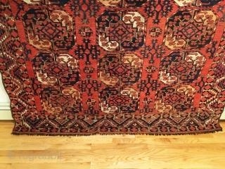 Ersari Main Carpet.  Afghanistan.  Early 19th Century.  3 x 6 Gulli-gol.  Note small miniature tertiary octagonal gols.  Horse hair warp.  Can fold it like a blanket  ...