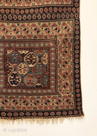 "A pair of early Shahsavan Khorjin faces sewn together. Woven in the Bijar area by the Khamseh. 1st Quarter 19th Century. 9 saturated colors that include green and purple. 3'8"" x 1'10"".  ..."
