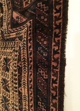 Timuri Baluch Prayer Rug.  Last Quarter 19th Century.  Silk highlights in bird columns.  Possible dowry rug?  Condition:  Very good.  One small hole.  Old oval patched  ...