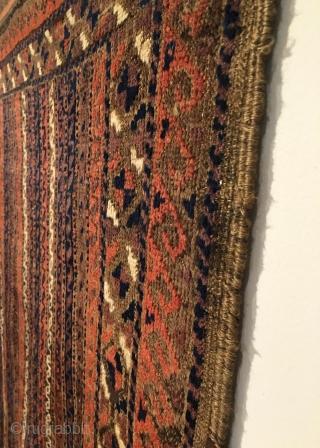Small Timuri Baluch Rug.  Yaqub-Khani/Sangtshuli?  Striped ribbon field design.  Third Quarter 19th Century.  Condition: excellent.  Full kilim ends.  No repairs.  All original sides.  5  ...