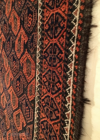Small Baluch Rug.  Last Quarter 19th Century.  Diagonal rows of curled bird botehs on oxidized black field.  Condition: Very good.  Shiny, soft wool.  Full pile.  Original  ...