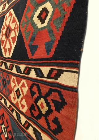 """Antique Caucasian Kilim.  2nd Half 19th Century.  Mint condition.  Soft dungaree handle.  Original macrame braided end.  7 colors.  Strong green.  10'9"""" x 3'0"""".  Delicately  ..."""